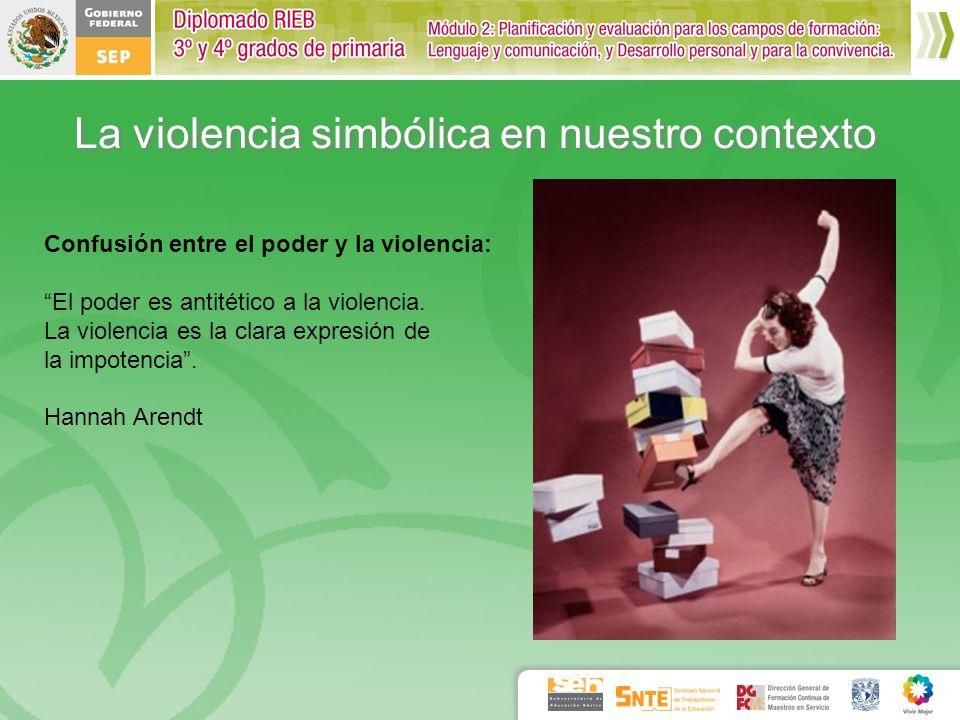 Confusión entre el poder y la violencia: El poder es antitético a la violencia. La violencia es la clara expresión de la impotencia. Hannah Arendt La