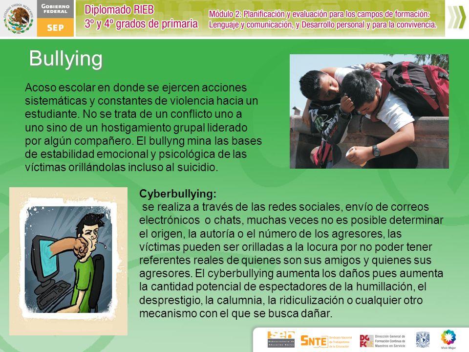 Bullying Acoso escolar en donde se ejercen acciones sistemáticas y constantes de violencia hacia un estudiante. No se trata de un conflicto uno a uno
