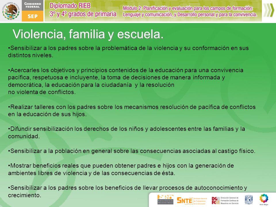 Violencia, familia y escuela. Sensibilizar a los padres sobre la problemática de la violencia y su conformación en sus distintos niveles. Acercarles l