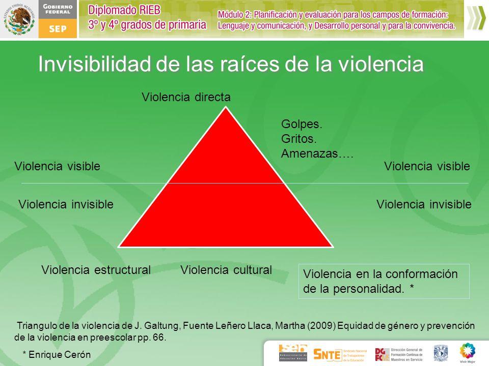 Invisibilidad de las raíces de la violencia Triangulo de la violencia de J. Galtung, Fuente Leñero Llaca, Martha (2009) Equidad de género y prevención