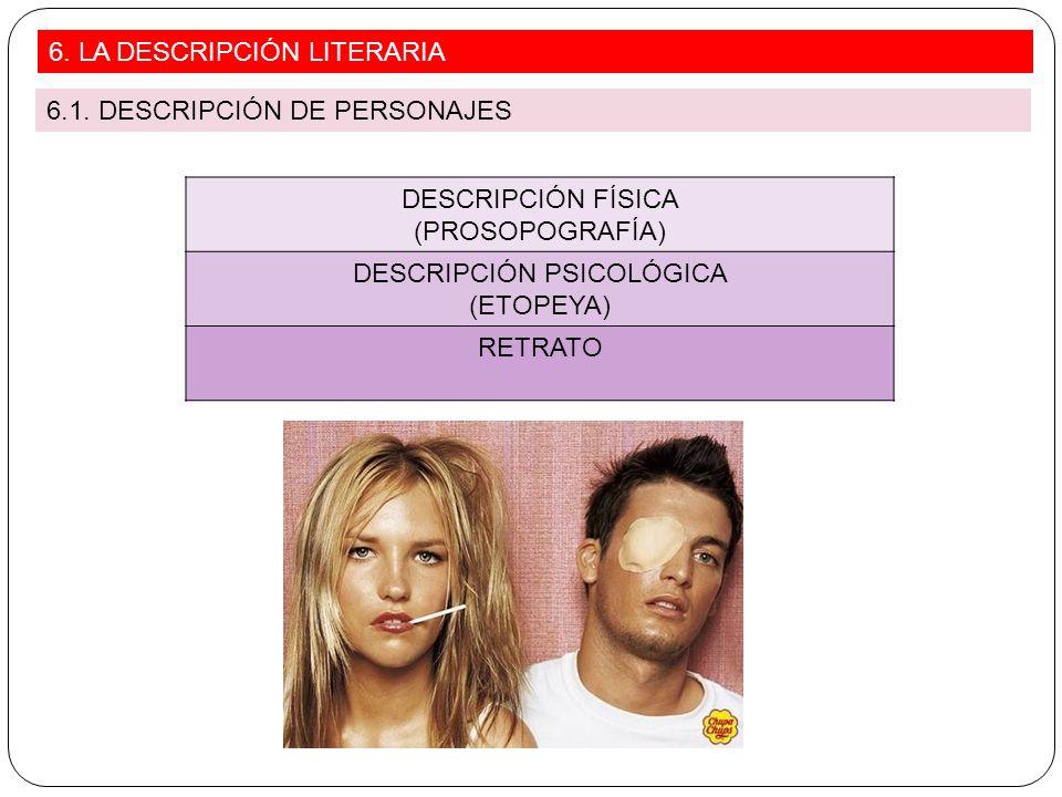 DESCRIPCIÓN FÍSICA (PROSOPOGRAFÍA) DESCRIPCIÓN PSICOLÓGICA (ETOPEYA) RETRATO 6. LA DESCRIPCIÓN LITERARIA 6.1. DESCRIPCIÓN DE PERSONAJES
