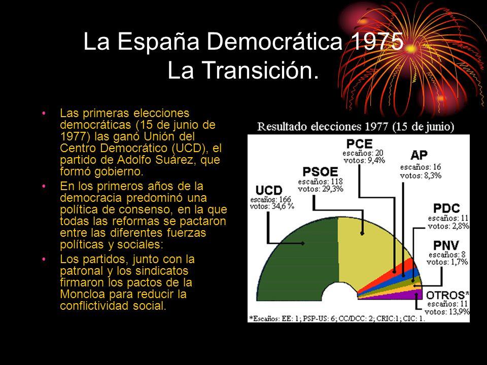 La España Democrática 1975 La Transición. Las primeras elecciones democráticas (15 de junio de 1977) las ganó Unión del Centro Democrático (UCD), el p