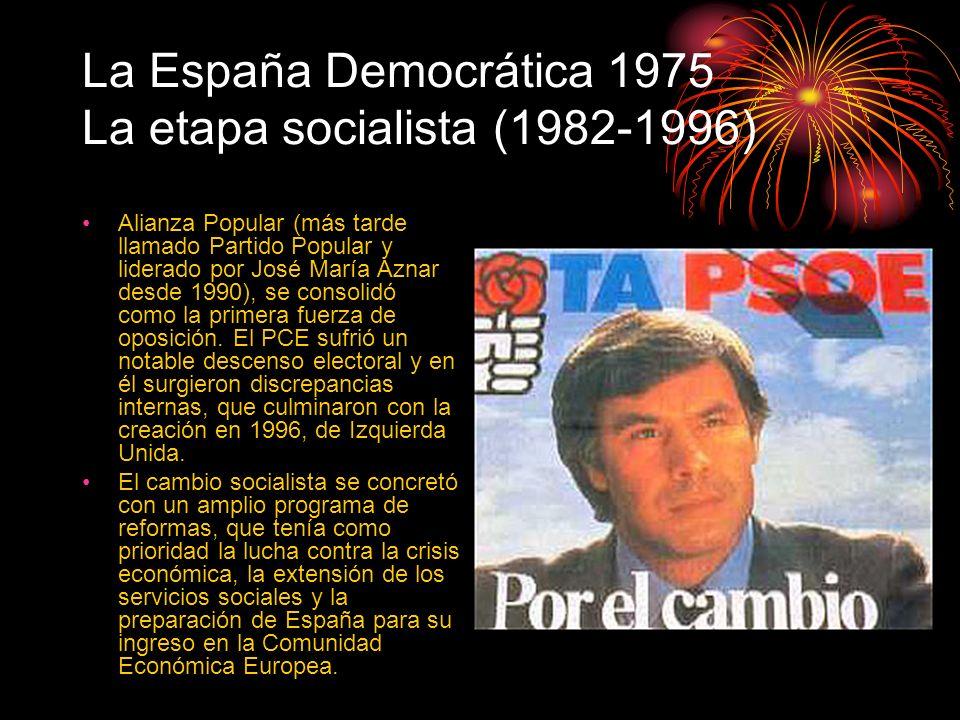 La España Democrática 1975 La etapa socialista (1982-1996) Alianza Popular (más tarde llamado Partido Popular y liderado por José María Aznar desde 19