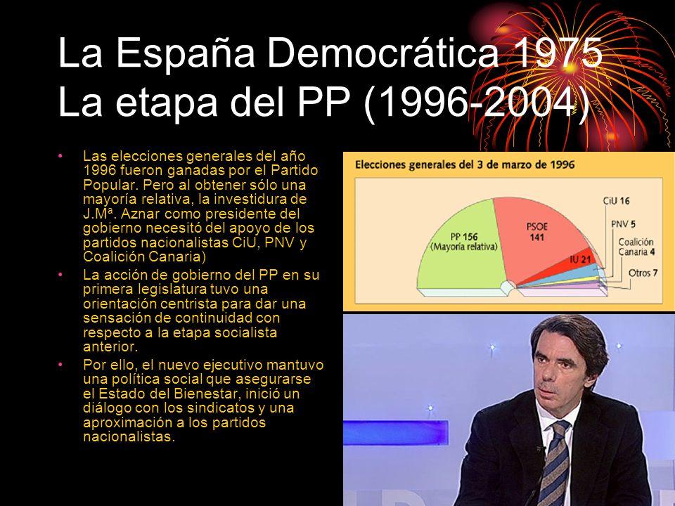 La España Democrática 1975 La etapa del PP (1996-2004) Las elecciones generales del año 1996 fueron ganadas por el Partido Popular. Pero al obtener só
