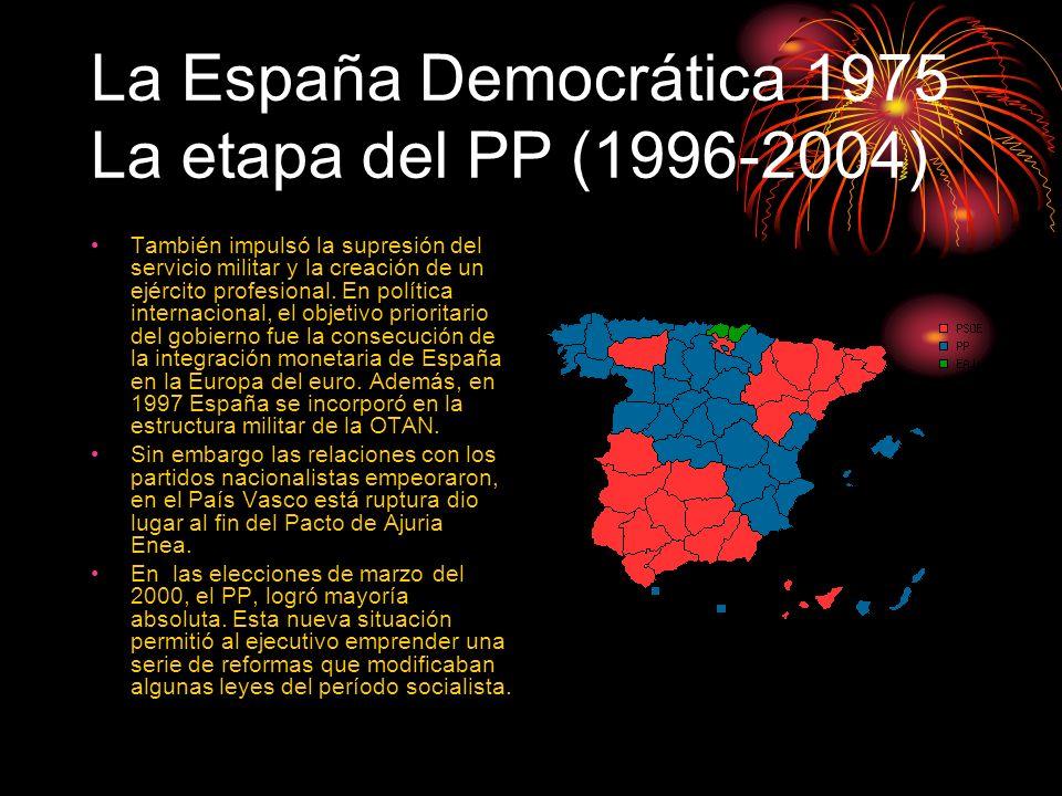 La España Democrática 1975 La etapa del PP (1996-2004) También impulsó la supresión del servicio militar y la creación de un ejército profesional. En