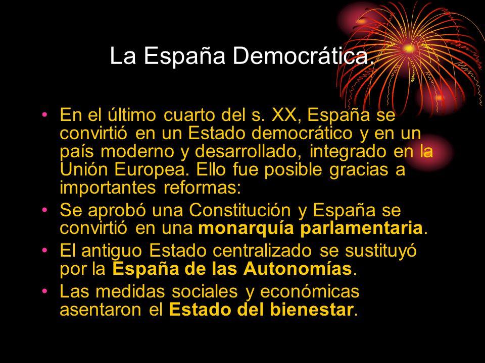 La España Democrática 1975 La etapa del PP (1996-2004) Se llevaron a cabo reformas en materia educativa (Ley de Calidad de Enseñanza, Ley de Reforma Universitaria), laboral (Ley de Contratación Laboral) de política migratoria (Ley de Extranjería) y de lucha antiterrorista (Ley de Partidos).