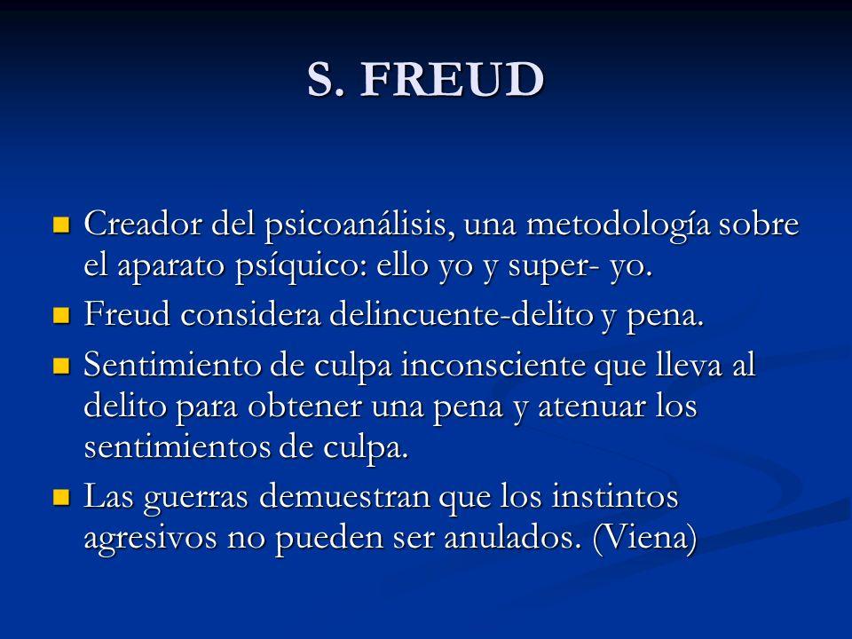 S. FREUD Creador del psicoanálisis, una metodología sobre el aparato psíquico: ello yo y super- yo. Creador del psicoanálisis, una metodología sobre e