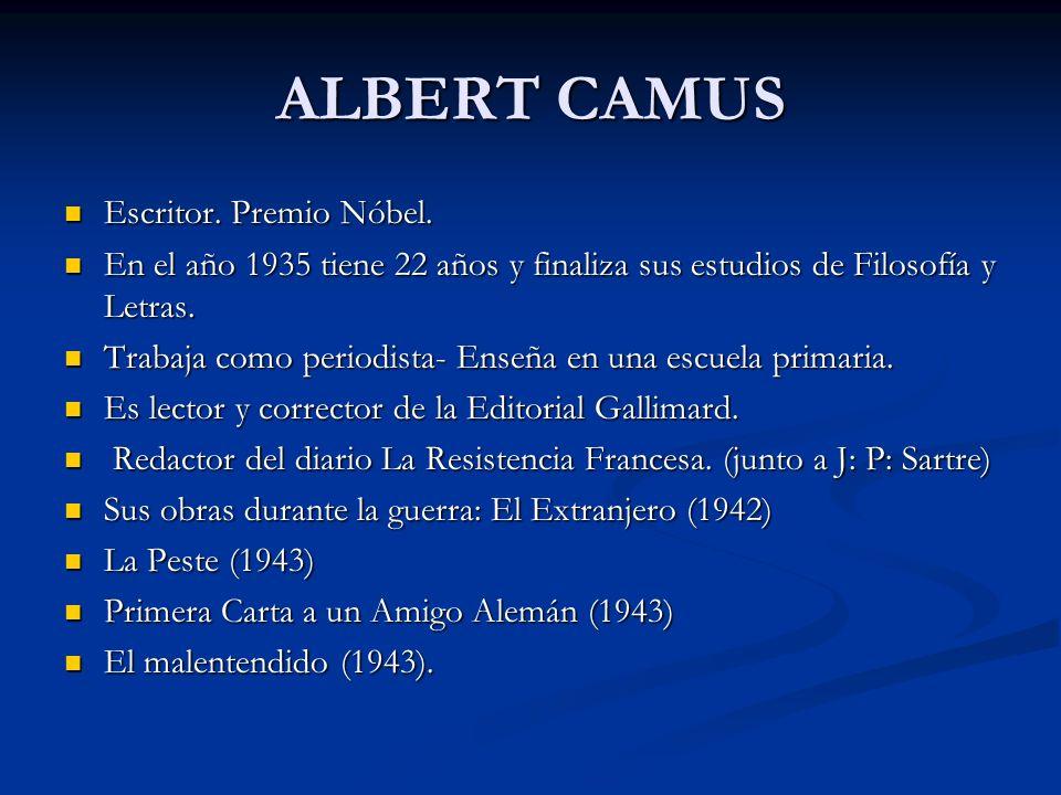 ALBERT CAMUS Escritor. Premio Nóbel. Escritor. Premio Nóbel. En el año 1935 tiene 22 años y finaliza sus estudios de Filosofía y Letras. En el año 193