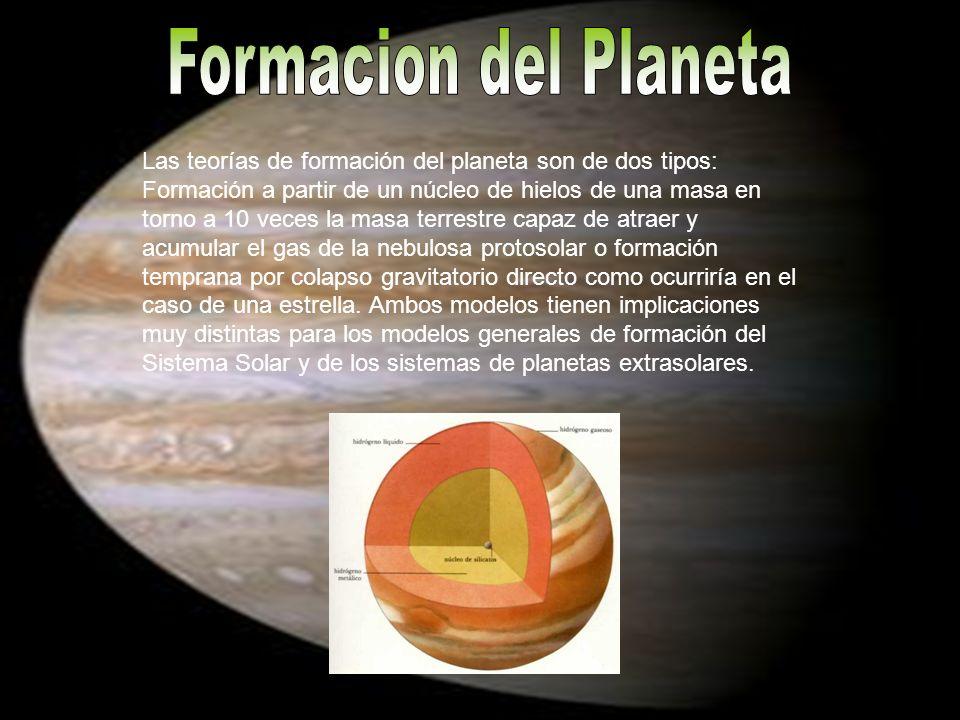 Las teorías de formación del planeta son de dos tipos: Formación a partir de un núcleo de hielos de una masa en torno a 10 veces la masa terrestre cap