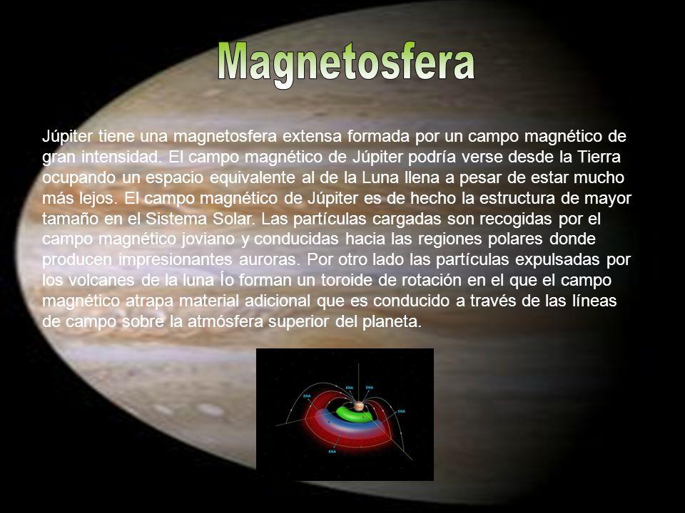Júpiter tiene una magnetosfera extensa formada por un campo magnético de gran intensidad. El campo magnético de Júpiter podría verse desde la Tierra o