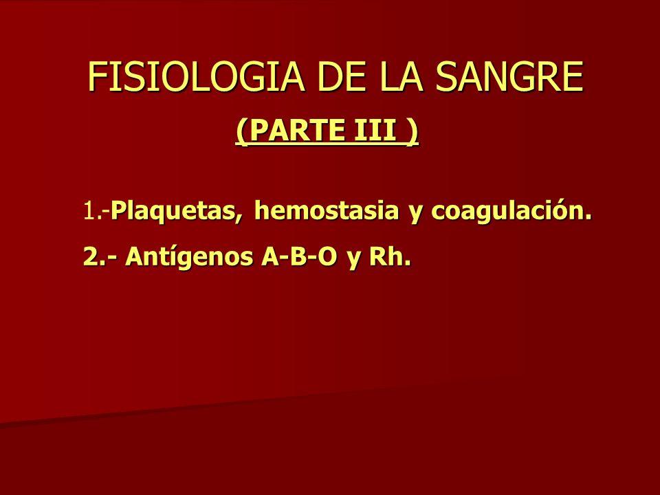 FISIOLOGIA DE LA SANGRE (PARTE III ) Plaquetas, hemostasia y coagulación. 1.-Plaquetas, hemostasia y coagulación. 2.- Antígenos A-B-O y Rh.