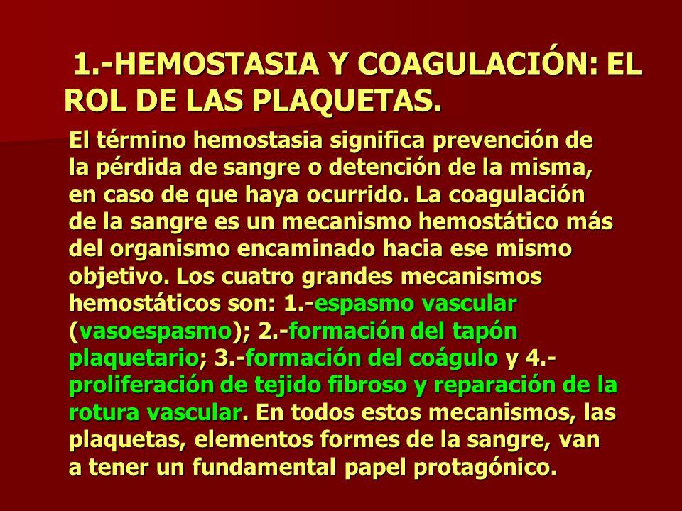 1.-HEMOSTASIA Y COAGULACIÓN: EL ROL DE LAS PLAQUETAS. 1.-HEMOSTASIA Y COAGULACIÓN: EL ROL DE LAS PLAQUETAS. El término hemostasia significa prevención