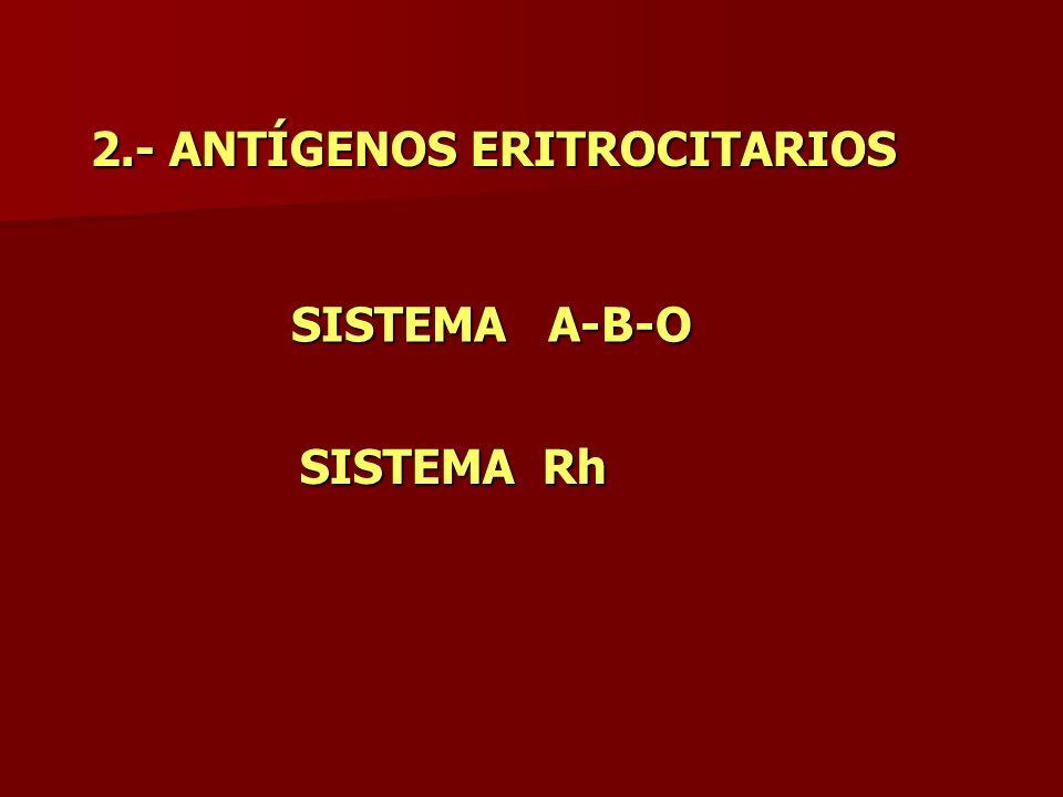 2.- ANTÍGENOS ERITROCITARIOS SISTEMA A-B-O SISTEMA Rh