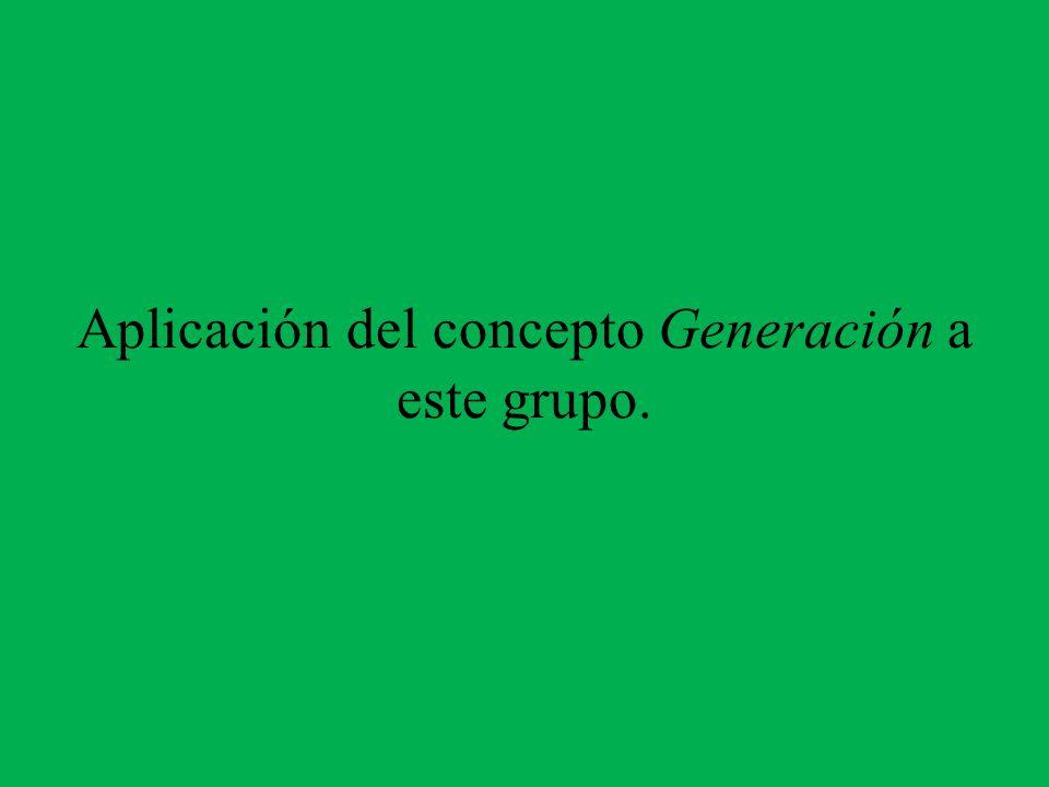 Aplicación del concepto Generación a este grupo.