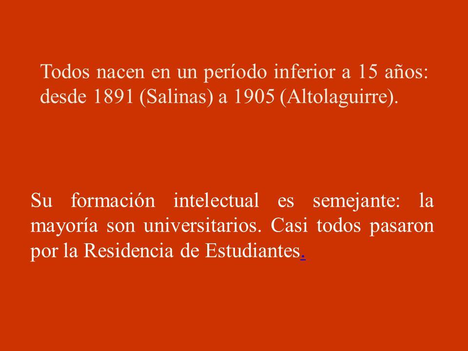 Todos nacen en un período inferior a 15 años: desde 1891 (Salinas) a 1905 (Altolaguirre). Su formación intelectual es semejante: la mayoría son univer