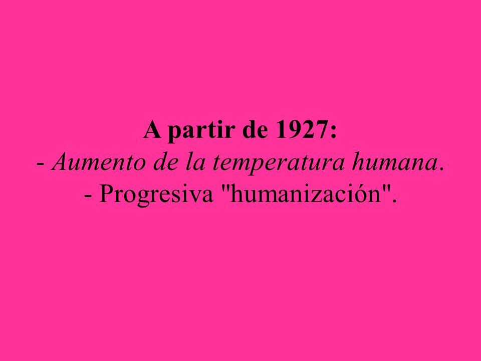 A partir de 1927: - Aumento de la temperatura humana. - Progresiva