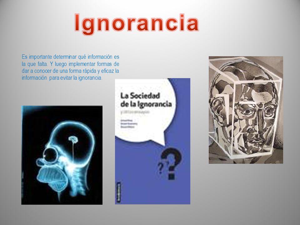 Ignorancia significa falta de información o de conocimientos. «El conocimiento es poder». En resumidas cuentas todas las personas k no poseen acceso a
