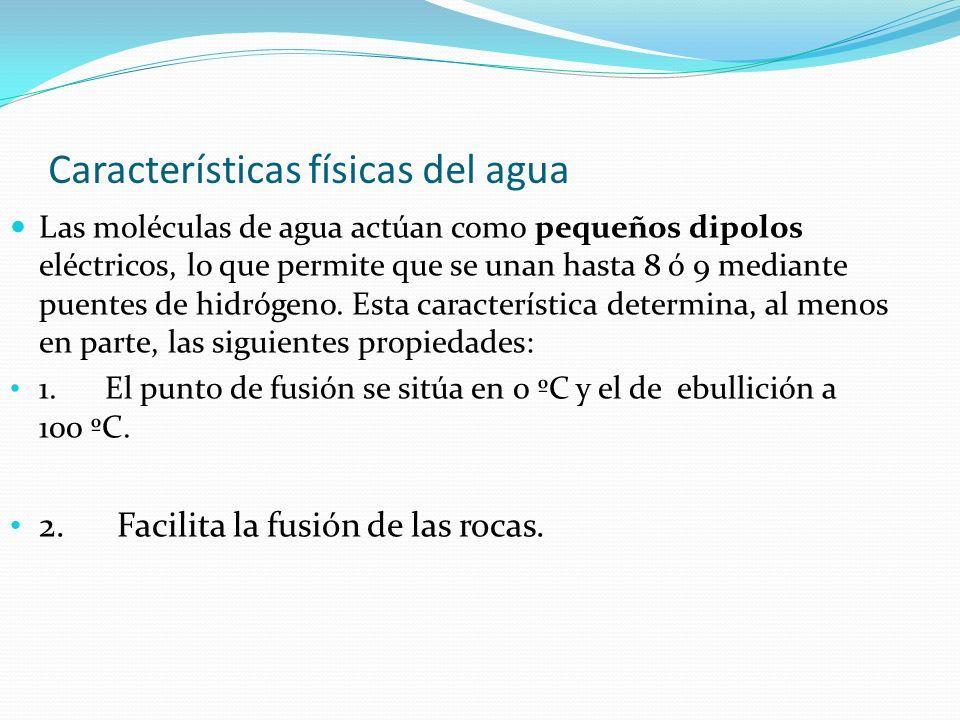 Características físicas del agua Las moléculas de agua actúan como pequeños dipolos eléctricos, lo que permite que se unan hasta 8 ó 9 mediante puente