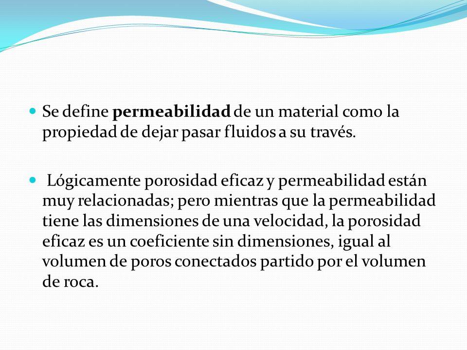Se define permeabilidad de un material como la propiedad de dejar pasar fluidos a su través. Lógicamente porosidad eficaz y permeabilidad están muy re
