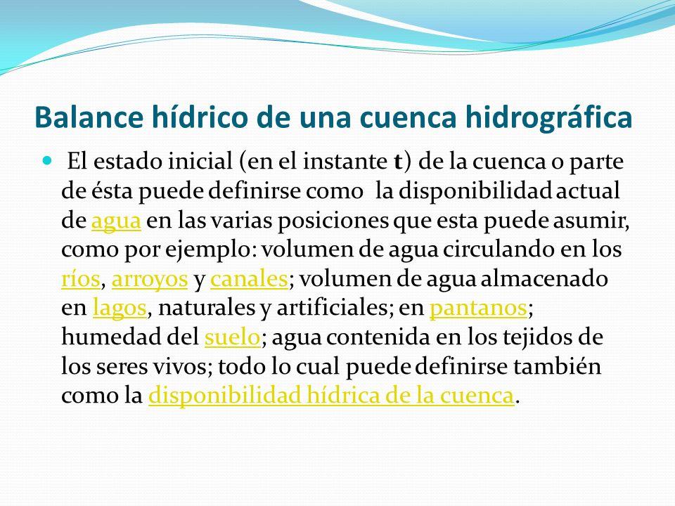 Balance hídrico de una cuenca hidrográfica El estado inicial (en el instante t) de la cuenca o parte de ésta puede definirse como la disponibilidad ac