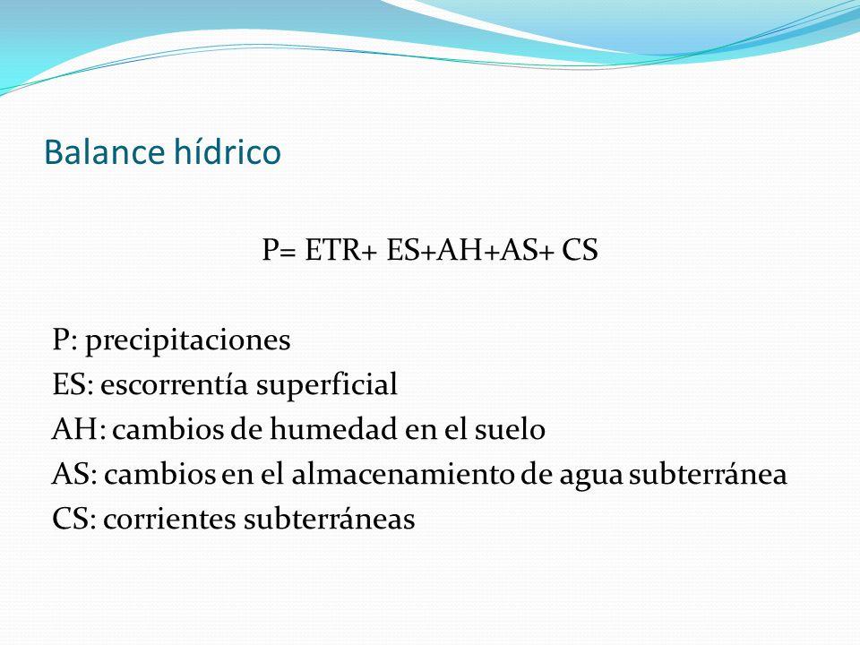 Balance hídrico P= ETR+ ES+AH+AS+ CS P: precipitaciones ES: escorrentía superficial AH: cambios de humedad en el suelo AS: cambios en el almacenamient