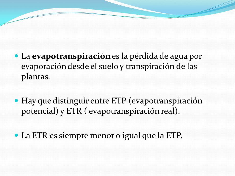 La evapotranspiración es la pérdida de agua por evaporación desde el suelo y transpiración de las plantas. Hay que distinguir entre ETP (evapotranspir