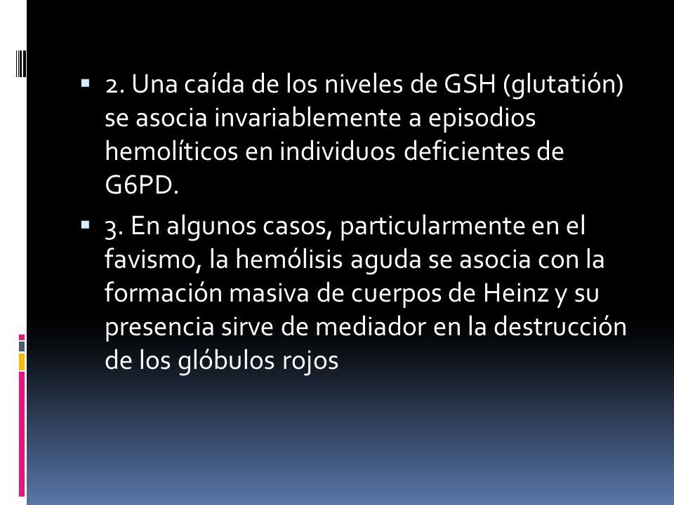 2. Una caída de los niveles de GSH (glutatión) se asocia invariablemente a episodios hemolíticos en individuos deficientes de G6PD. 3. En algunos caso
