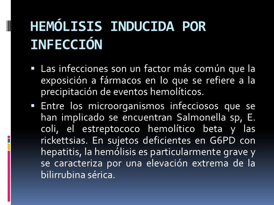 HEMÓLISIS INDUCIDA POR INFECCIÓN Las infecciones son un factor más común que la exposición a fármacos en lo que se refiere a la precipitación de event