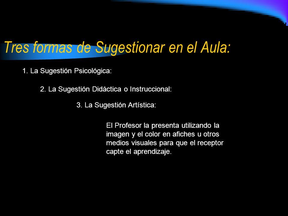 Tres formas de Sugestionar en el Aula: 1.La Sugestión Psicológica: 2.