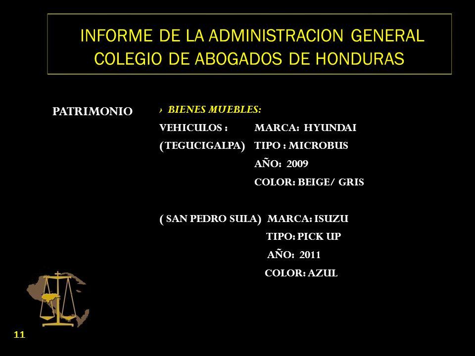 INFORME DE LA ADMINISTRACION GENERAL COLEGIO DE ABOGADOS DE HONDURAS PATRIMONIO BIENES MUEBLES: VEHICULOS :MARCA: HYUNDAI ( TEGUCIGALPA) TIPO : MICROB