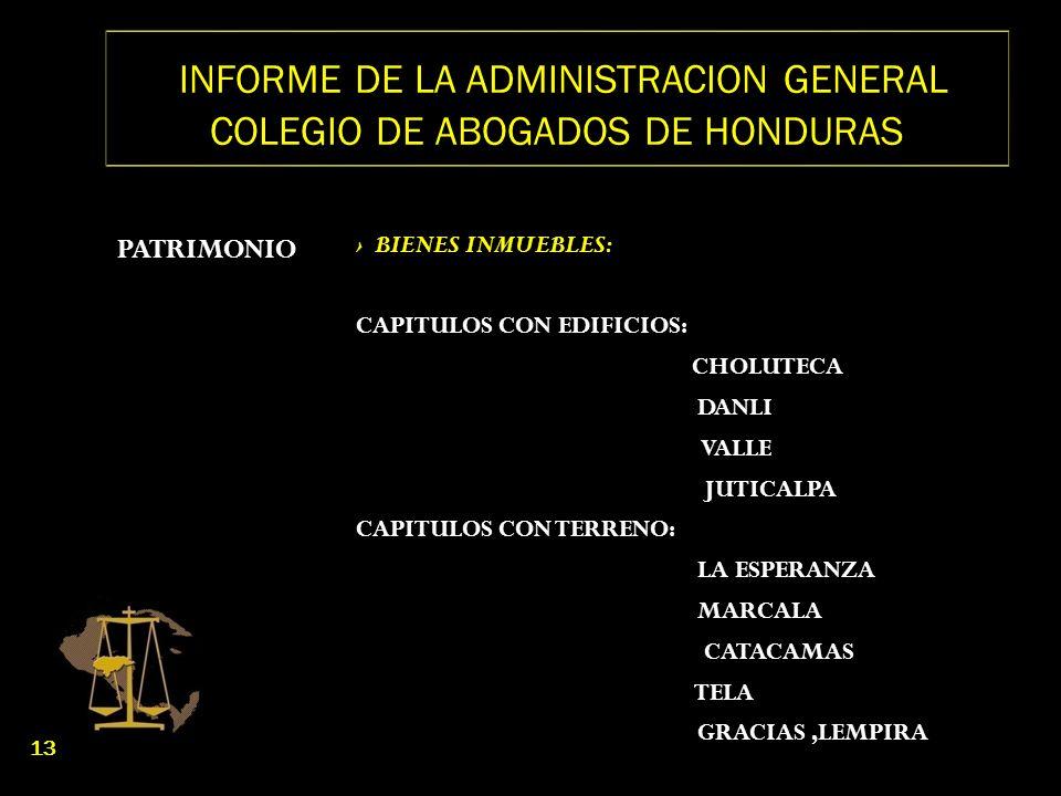 INFORME DE LA ADMINISTRACION GENERAL COLEGIO DE ABOGADOS DE HONDURAS PATRIMONIO BIENES INMUEBLES: CAPITULOS CON EDIFICIOS: CHOLUTECA DANLI VALLE JUTIC