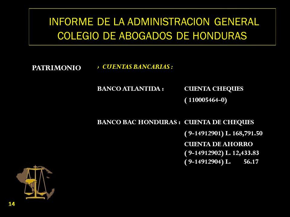 INFORME DE LA ADMINISTRACION GENERAL COLEGIO DE ABOGADOS DE HONDURAS PATRIMONIO CUENTAS BANCARIAS : BANCO ATLANTIDA :CUENTA CHEQUES ( 110005464-0) BAN