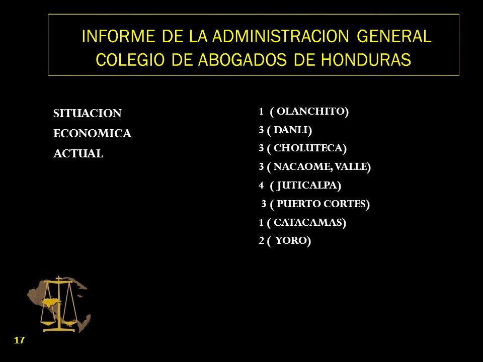 INFORME DE LA ADMINISTRACION GENERAL COLEGIO DE ABOGADOS DE HONDURAS SITUACION ECONOMICA ACTUAL 1 ( OLANCHITO) 3 ( DANLI) 3 ( CHOLUTECA) 3 ( NACAOME,