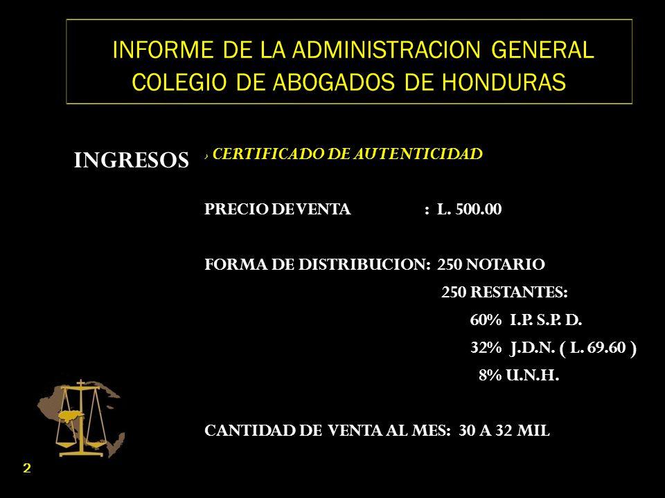 INFORME DE LA ADMINISTRACION GENERAL COLEGIO DE ABOGADOS DE HONDURAS INGRESOS CERTIFICADO DE AUTENTICIDAD PUNTOS DE VENTA: BANCO ATLANTIDA A NIVEL NACIONAL CENTROS DE ATENCION AL PROFESIONAL DEL DERECHO EN : 1) TEGUCIGALPA: D.E.I.