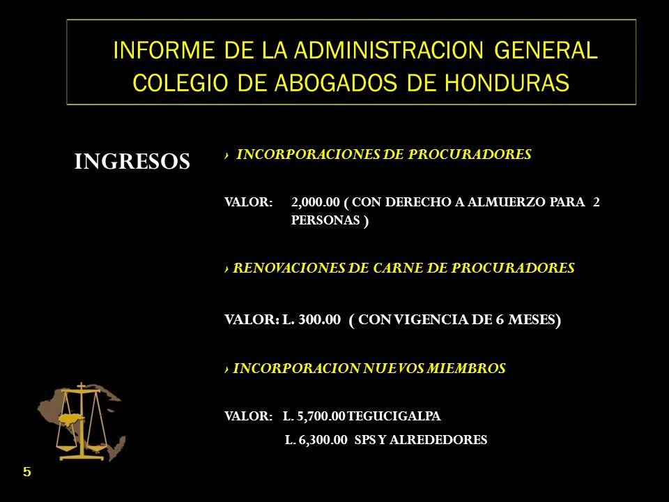INFORME DE LA ADMINISTRACION GENERAL COLEGIO DE ABOGADOS DE HONDURAS INGRESOS INCORPORACIONES DE PROCURADORES VALOR: 2,000.00 ( CON DERECHO A ALMUERZO