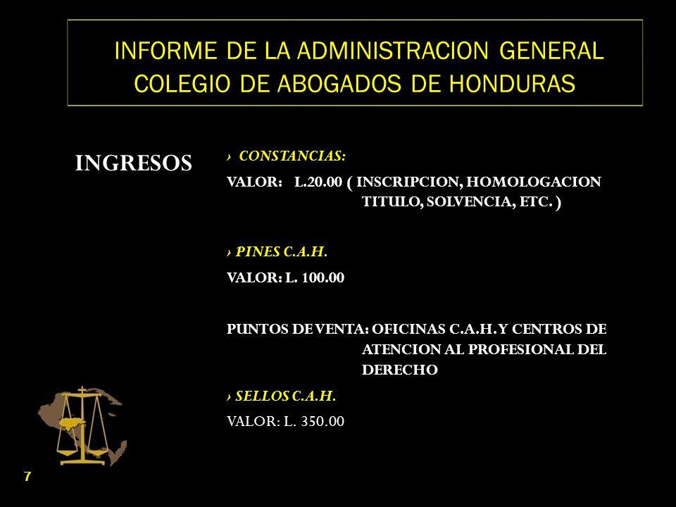 INFORME DE LA ADMINISTRACION GENERAL COLEGIO DE ABOGADOS DE HONDURAS INGRESOS CONSTANCIAS: VALOR: L.20.00 ( INSCRIPCION, HOMOLOGACION TITULO, SOLVENCI