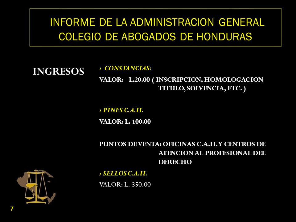 INFORME DE LA ADMINISTRACION GENERAL COLEGIO DE ABOGADOS DE HONDURAS SITUACION ECONOMICA ACTUAL 1 ( OLANCHITO) 3 ( DANLI) 3 ( CHOLUTECA) 3 ( NACAOME, VALLE) 4 ( JUTICALPA) 3 ( PUERTO CORTES) 1 ( CATACAMAS) 2 ( YORO) 18