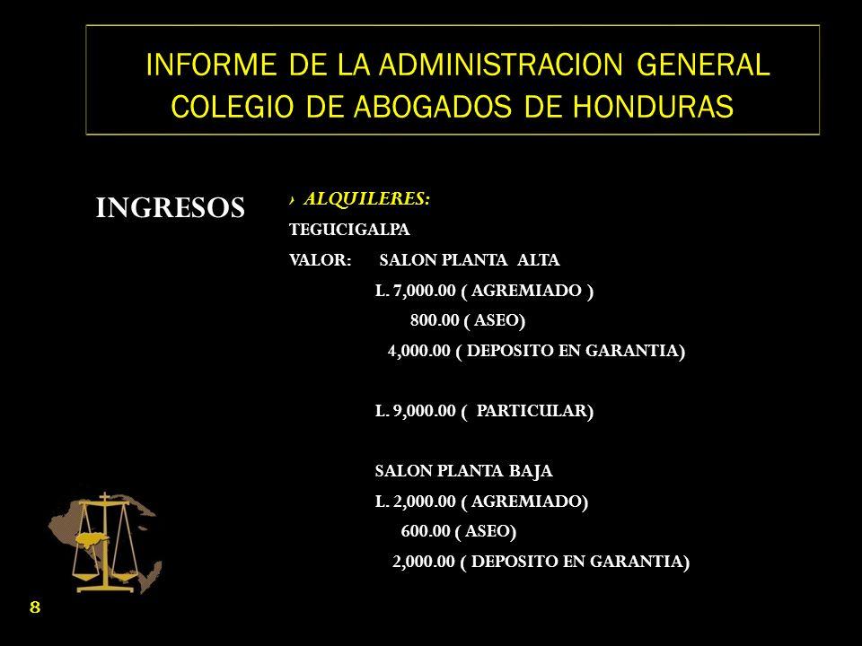 INFORME DE LA ADMINISTRACION GENERAL COLEGIO DE ABOGADOS DE HONDURAS INGRESOS ALQUILERES: TEGUCIGALPA VALOR: SALON PLANTA ALTA L. 7,000.00 ( AGREMIADO