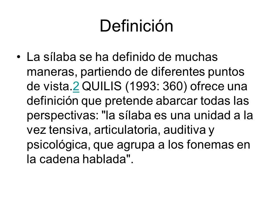 Definición La sílaba se ha definido de muchas maneras, partiendo de diferentes puntos de vista.2 QUILIS (1993: 360) ofrece una definición que pretende