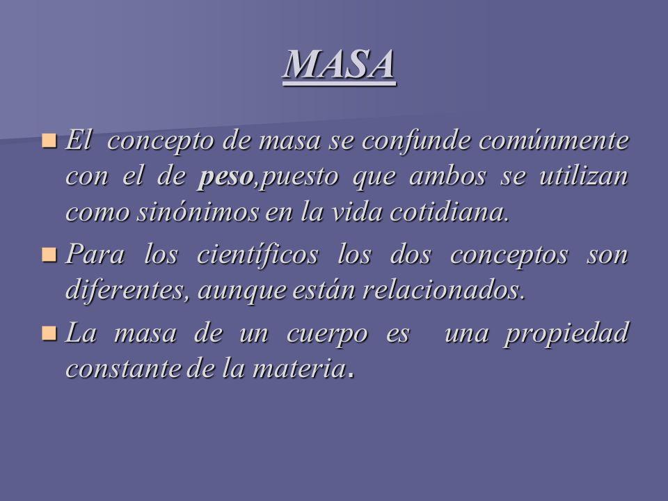 MASA MASA El concepto de masa se confunde comúnmente con el de peso,puesto que ambos se utilizan como sinónimos en la vida cotidiana. El concepto de m