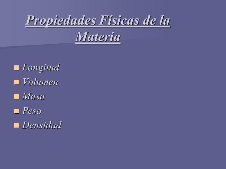 Propiedades Físicas de la Materia Longitud Longitud Volumen Volumen Masa Masa Peso Peso Densidad Densidad