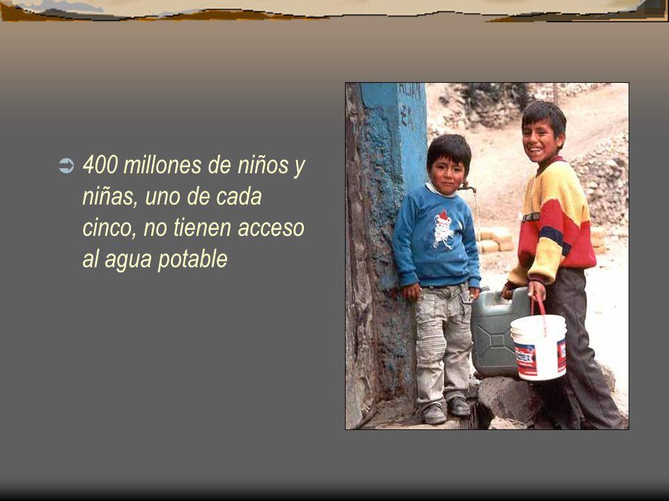 400 millones de niños y niñas, uno de cada cinco, no tienen acceso al agua potable