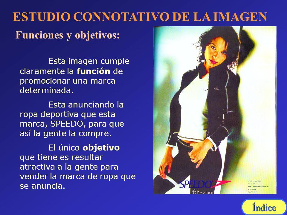 ESTUDIO CONNOTATIVO DE LA IMAGEN Funciones y objetivos: Esta imagen cumple claramente la función de promocionar una marca determinada. Esta anunciando