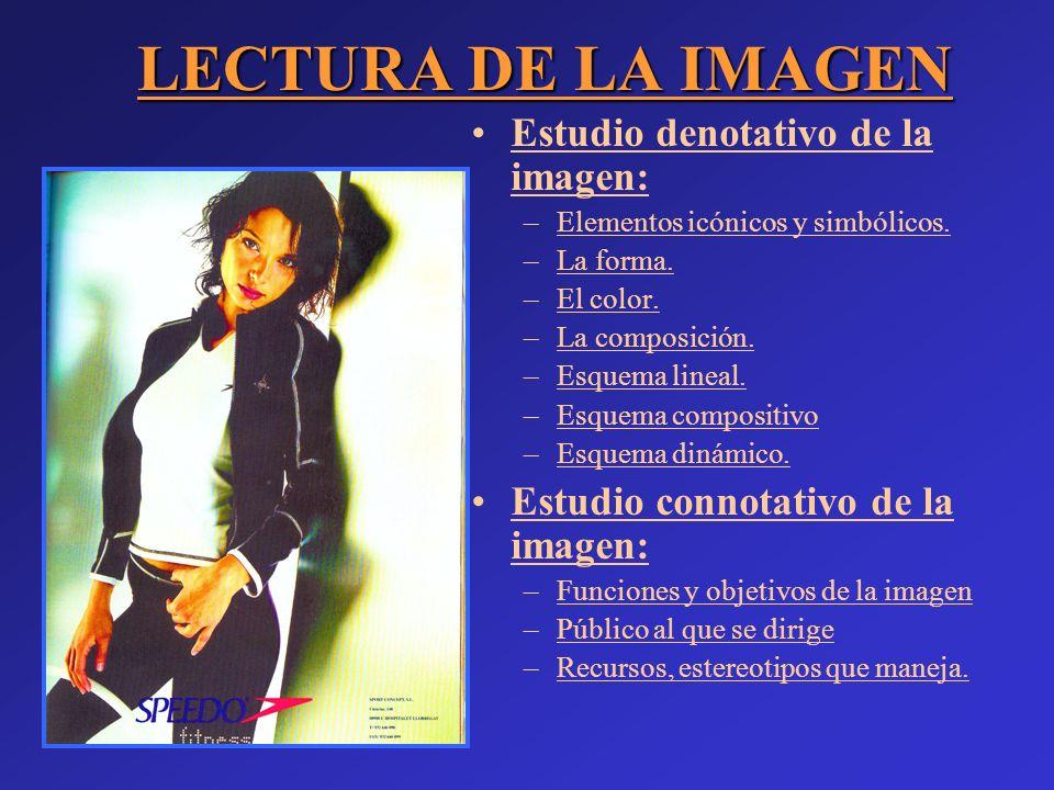 Estudio denotativo de la imagen:Estudio denotativo de la imagen: –Elementos icónicos y simbólicos.Elementos icónicos y simbólicos. –La forma.a forma.