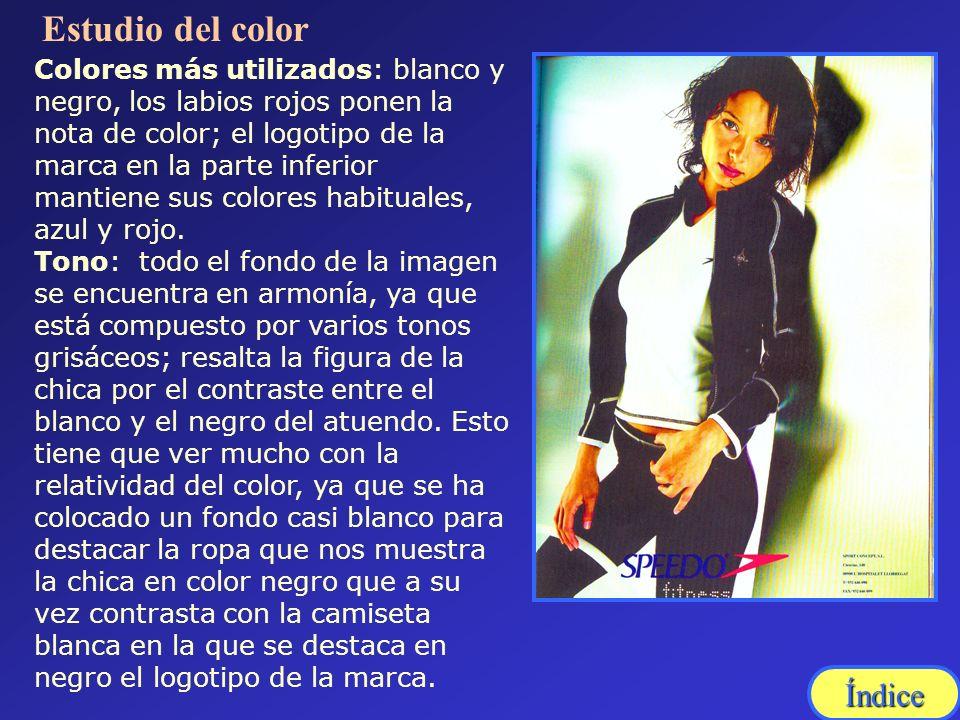 Colores más utilizados: blanco y negro, los labios rojos ponen la nota de color; el logotipo de la marca en la parte inferior mantiene sus colores hab