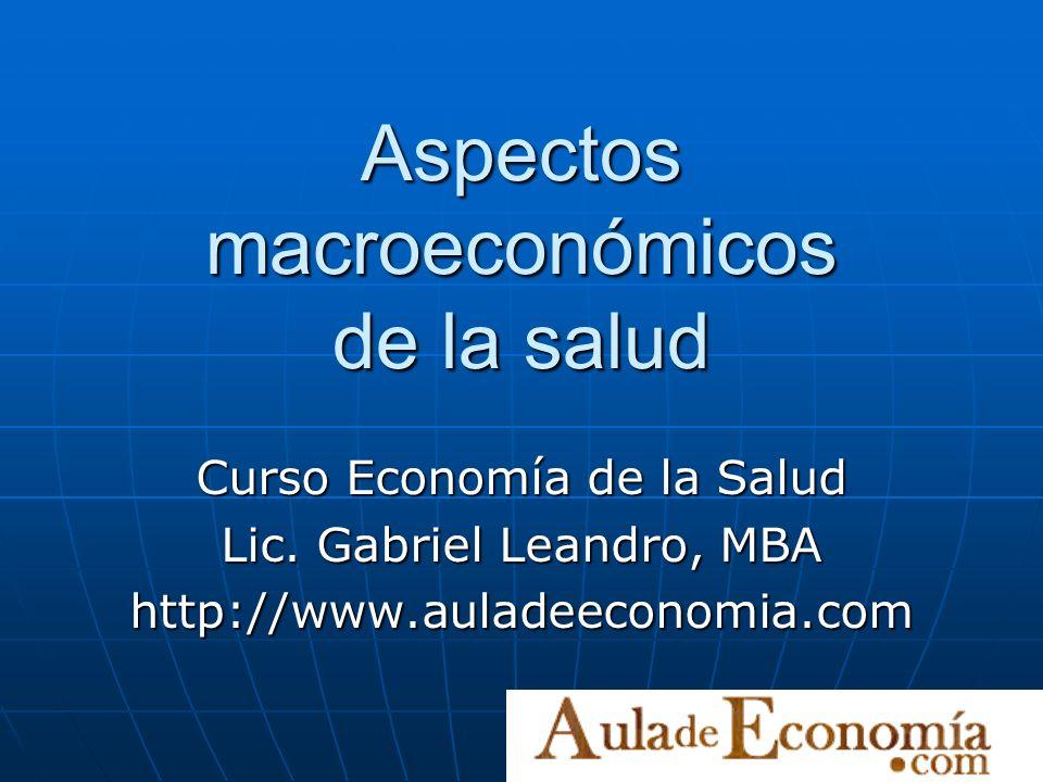 Aspectos macroeconómicos de la salud Curso Economía de la Salud Lic. Gabriel Leandro, MBA http://www.auladeeconomia.com