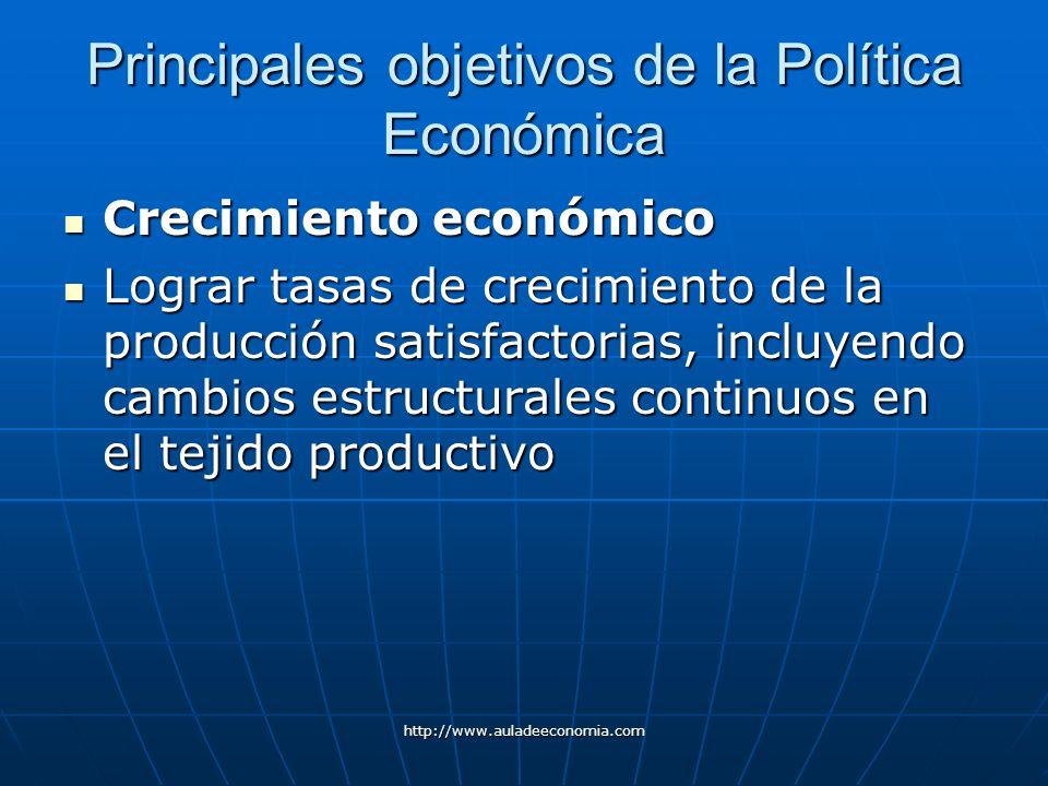 http://www.auladeeconomia.com Principales objetivos de la Política Económica Crecimiento económico Crecimiento económico Lograr tasas de crecimiento d