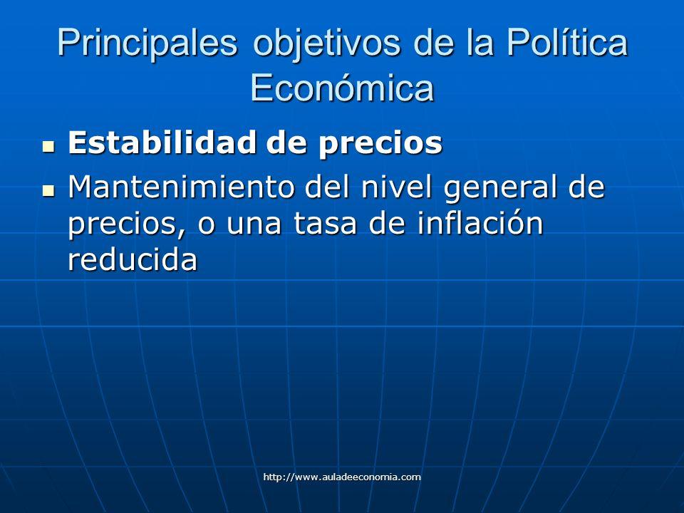 http://www.auladeeconomia.com Principales objetivos de la Política Económica Estabilidad de precios Estabilidad de precios Mantenimiento del nivel gen