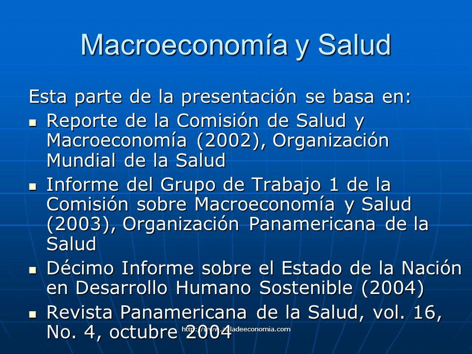 http://www.auladeeconomia.com Macroeconomía y Salud Esta parte de la presentación se basa en: Reporte de la Comisión de Salud y Macroeconomía (2002),