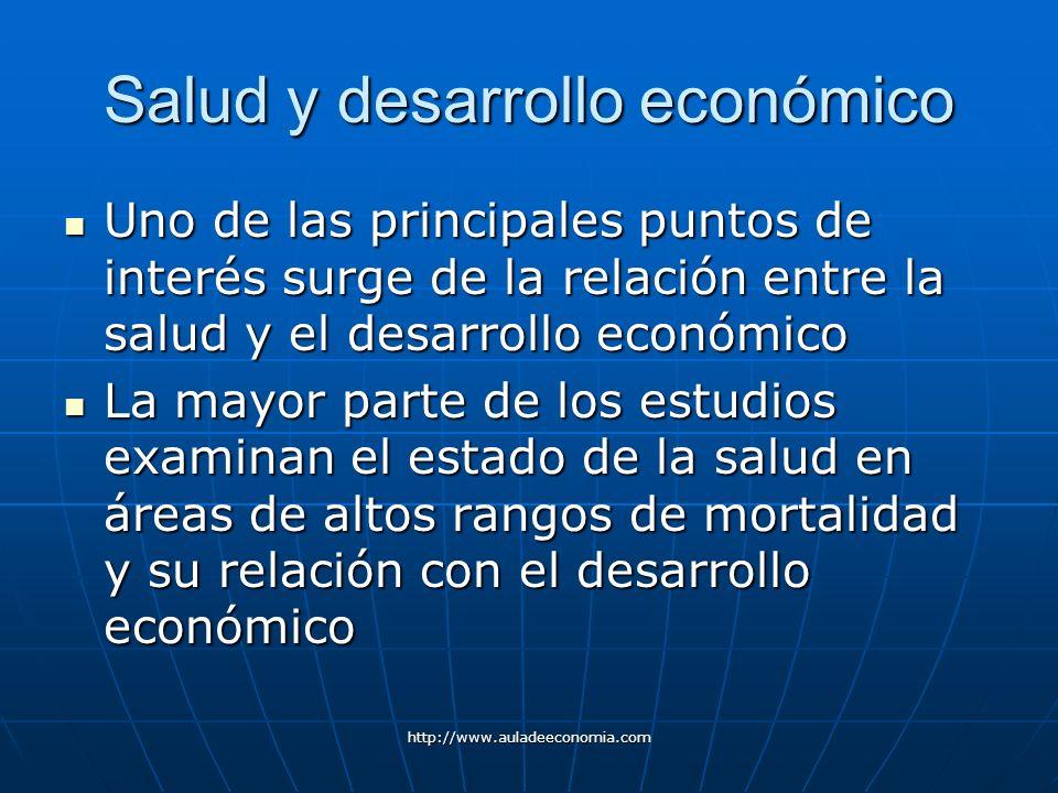 http://www.auladeeconomia.com Salud y desarrollo económico Uno de las principales puntos de interés surge de la relación entre la salud y el desarroll